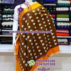 Pochampally double ikat cotton dupatta triangle design