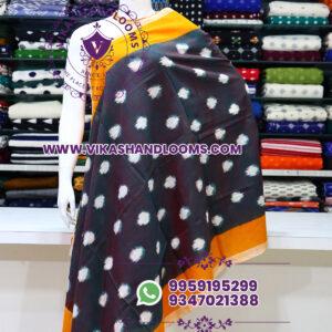 Pochampally double ikkat cotton dupatta yellow border