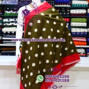 Pochampally double ikat cotton dupatta red border