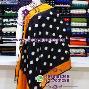 Pochampally double ikat cotton dupatta black