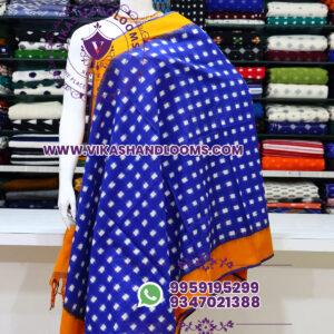 Pochampally double ikat cotton dupatta blue