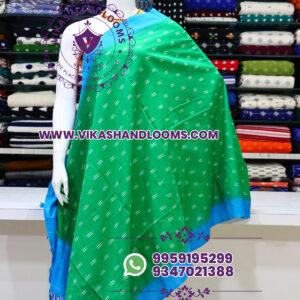 Pochampally double ikat cotton dupatta green