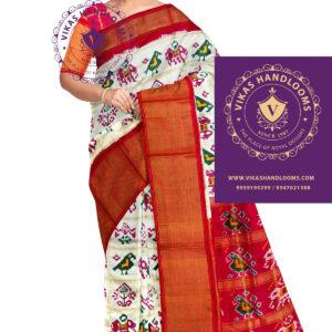 pochampally double ikat bone checks saree