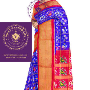 Double ikkat bone checks silk saree