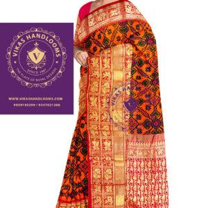 Ikat kanchi border allover design saree
