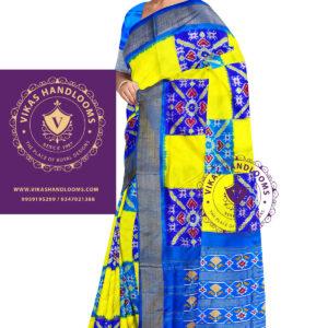 Pochampally double ikat big box yellow saree