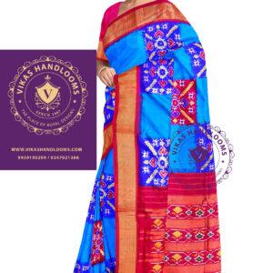 Pochampally double ikat big box blue saree