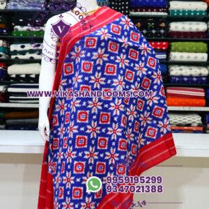 Pochampally designer double ikat cotton dupatta blue