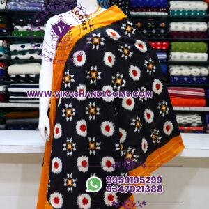 Pochampally designer double ikat cotton dupatta black