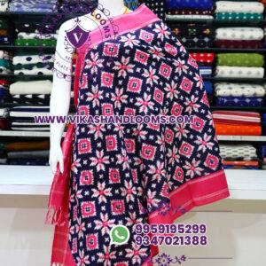 Pochampally designer double ikat cotton dupatta pink