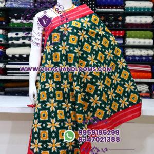 Pochampally designer double ikat cotton dupatta yellow flowers