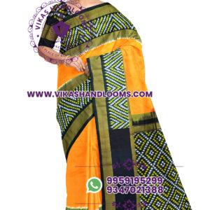 Pochampally designer ikat orange saree