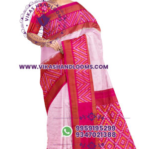 Pochampally designer ikat saree light red