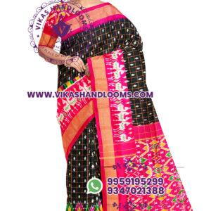 Pochampally ikat buta checks saree black