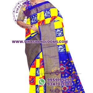 Pochampally double ikat box design yellow saree