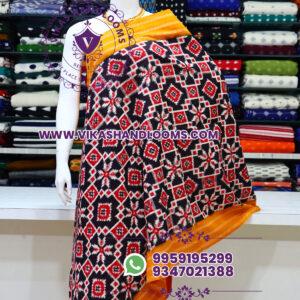 Pochampally designer double ikat cotton dupatta box design