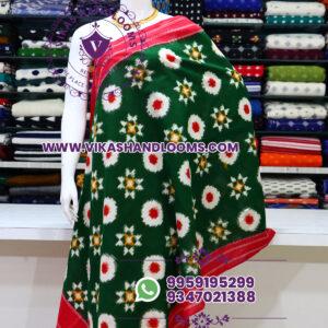 Pochampally designer double ikat cotton dupatta green