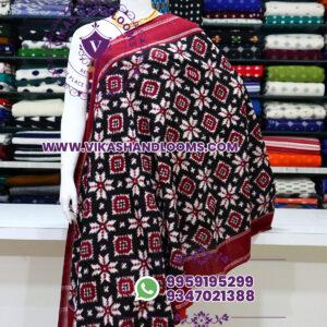 Pochampally designer double ikat cotton dupatta maroon