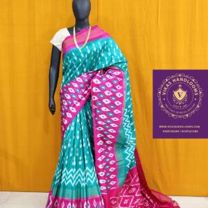 Ikat light sea green and pink border pattu saree