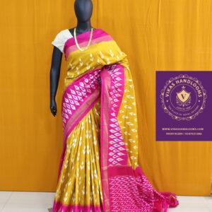 Ikat light weight pattu mustard yellow saree