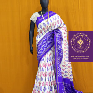 Pochampally light weight saree white and purple