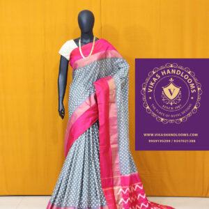 Gray and pink border ikat tissue border sarees