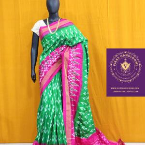 Ikat green and pink light weight pattu saree