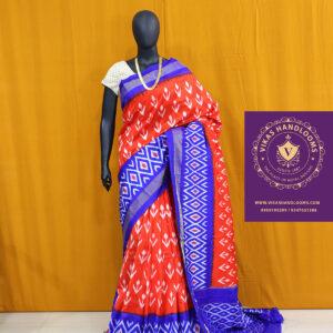 Ikat light weight pattu red and blue border saree