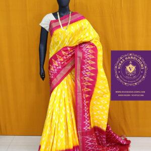 Ikat light weight pattu yellow and red border saree