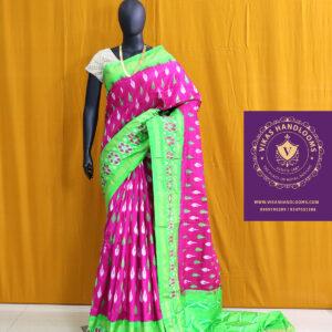 Ikat light weight pink and green border saree