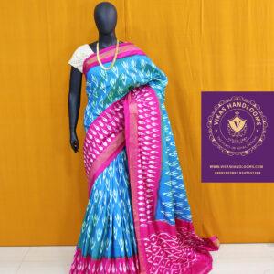 Ikat light weight blue and pink saree