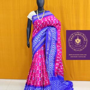 Ikat light weight saree red and blue border saree