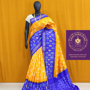Ikat mustard yellow and blue border light weight saree