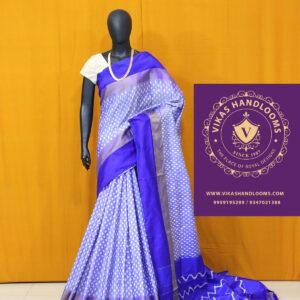 light blue ikat tissue border pattu sarees