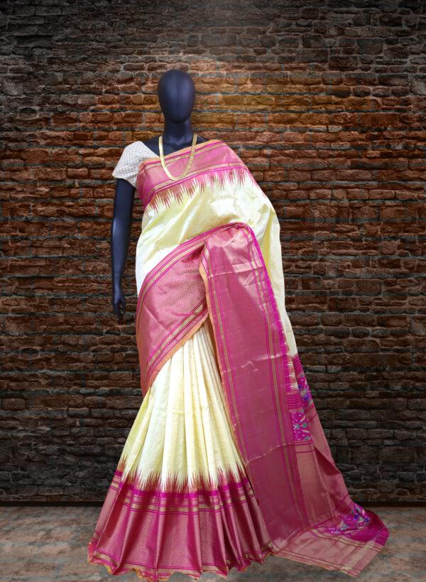 pochampally ikat bone checks sarees